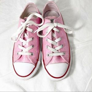 Converse Sparkly Pink Low Cut Runners Sneakers